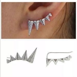 Melinda Maria Silver SLOANE SPIKE CRAWLER EARRINGS